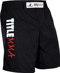 TITLE MMA Vertical Quad Flex Fight Shorts, Black, Youth 8