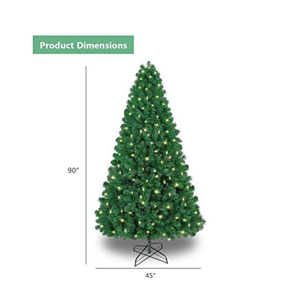 SHareconn Albero di Natale Artificiale, PVC Ago di Pino, Facile Montaggio, Supporto in Metallo, 1602 Rami, 470 LED, Verde Deco 7.5ft 2 spesavip