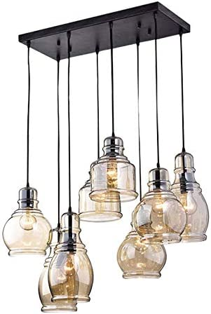 KALRI Vintage Kitchen Island Cognac Glass Chandelier Pendant Lighting Fixture with 8-Light, Antique Black Finish Ceiling Lights for Dining Room, Cafe, Bar Style-1
