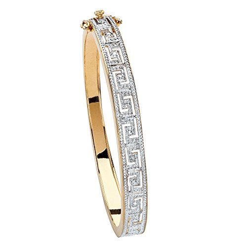 18K Yellow Gold Plated Genuine Diamond Accent Greek Key Bangle Bracelet 9.5mm Box Clasp 7.5 Inches