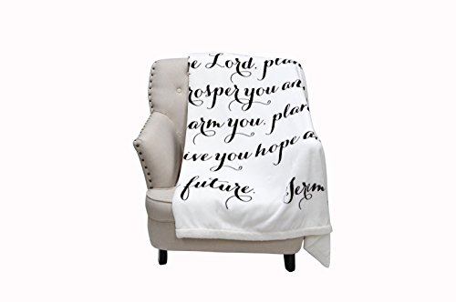 Luxuriously Soft Scripture Throw Blanket | Jeremiah 29:11 | 50x60 inches (Ivory) (Home Decor Gift Basket)