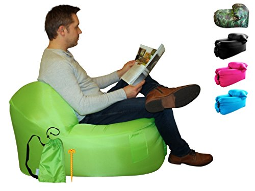 Camping chair, folding camping chairs, Air Chair, inflatable chair, chair in a bag, reading, camping furniture, headrest, carry bag (Green Zest)