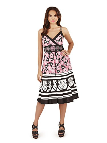 Pistachio, Ladies Sun Flower Flowing Knee Length Summer Dress, Black and Pink, US 12-14