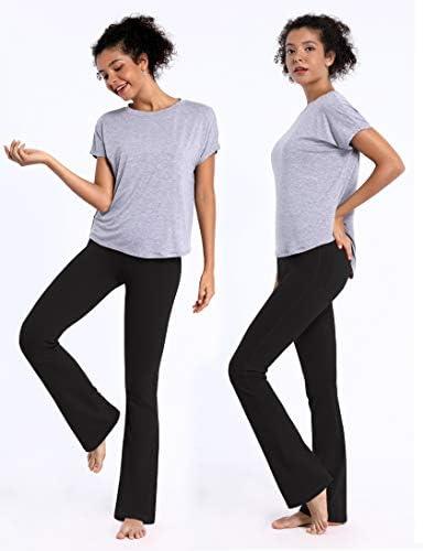 "BUBBLELIME 29""/31""/33""/35"" 4 Styles Women Bootcut Yoga Pants Basic/Back Pocket/Straight Leg Soft Workout Flare Tummy Control 4"