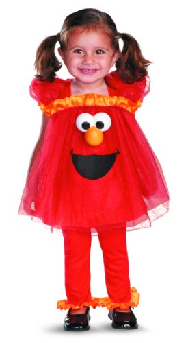 Girl's Sesame Street Frilly Light Up Elmo Costume, ()