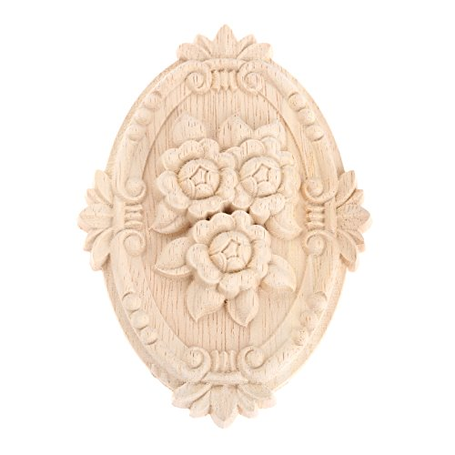 MUXSAM 4pcs Wood Carved Applique Frame Onlay Unpainted Furniture Decoration Unpainted Oval Patterns 13x9cm