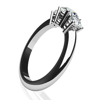 GIA Certified 14K White Gold (HallMarked) Brilliant Round White Diamond 3 Stone Engagement Wedding Ring