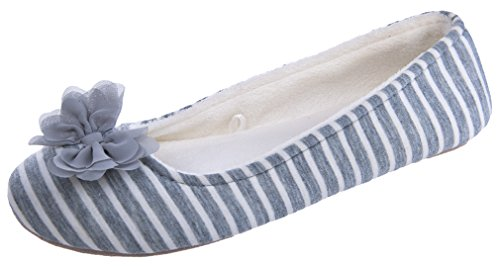 MIXIN Womens Ballerina Soft Sole Bowknot Striped Indoor Slippers Grey and White HgOioc