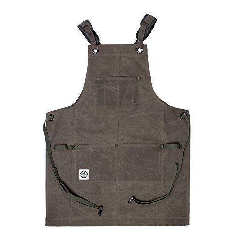 DCT 16oz Waxed Canvas Apron with Tool Pockets in Gray  Cross-Back Straps, Buckle Clip, Men Women Woodworking Painting