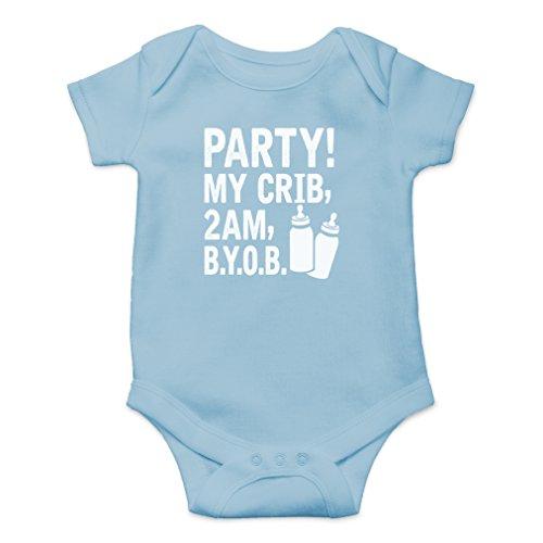 AW Fashions Party! My Crib, 2 AM, B.Y.O.B. Cute Novelty Funny Infant One-Piece Baby Bodysuit (Newborn, Light Blue) -