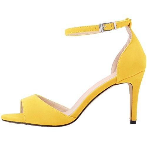 pour en Stiletto toe peep HooH Sandales jaune flanelle femmes xZwYf7
