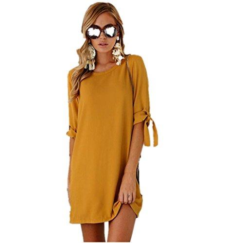 Robe Amlaiworld Sexy Longue Bowknot Solide Mini Couleur Chic Femme Femmes Courtes robe Translucide Lache unie Manches Jaune RgwdZ1Eq