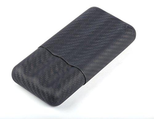 Alston Carbon Fiber Travel Cigar Caddy Case Holder for 3 Cigar (Black)-Matt Color ()