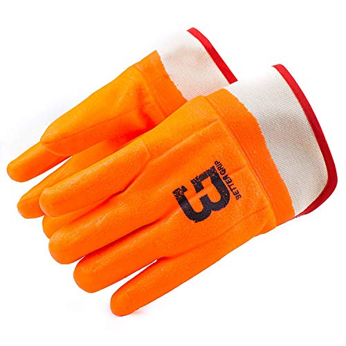 Troy Safety Heavy Duty Premium Sandy finished PVC Coated-Supported Glove with Safety Cuff, Chemical Resistant, Large, Fluorescent Orange (3 Pairs) by Troy Safety (Image #2)