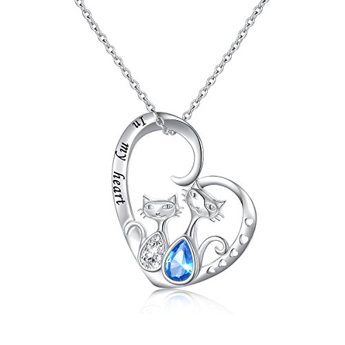 (S925 Sterling Silver Lovely Two-tone Double Cat Pendant Necklace for Women Girls, 18