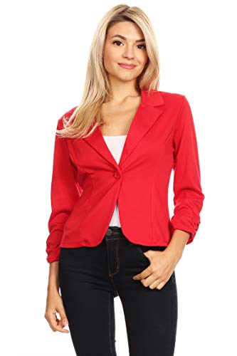 - Solid Basic Ruched Sleeve Buttoned Business Casual Blazer Jacket/Made in USA Red 2XL