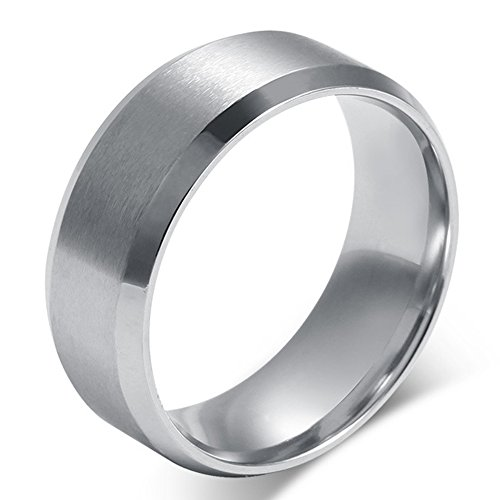 Palladium Band (Mens Womens Wedding Bands Classic 8MM Titanium Steel Promise Rings for Him High Polish Comfort Fit Size 10)