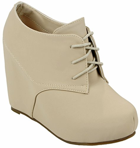Hidden Wedge Boot - Women Zomy Nude Wedge Round Toe Hidden Platform Lace Up Ankle Booties-7.5