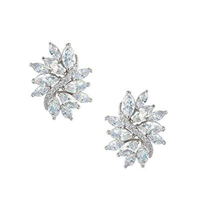 EVER FAITH Women's Cubic Zirconia Elegant Bridal Floral Leaf Pierced Stud Earrings Clear