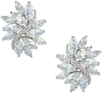EVER FAITH Zircon Bridal Floral Leaf Pierced Stud Earrings Clear