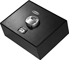 AX11556 - Top Opening Biometric Drawer Safe by Barska Top Access Drawer safe with dual hydraulic hinge allows for quick secure access to your valuables. The reinforced motorized dead bolt safe door can be effortlessly opened with one finger. ...