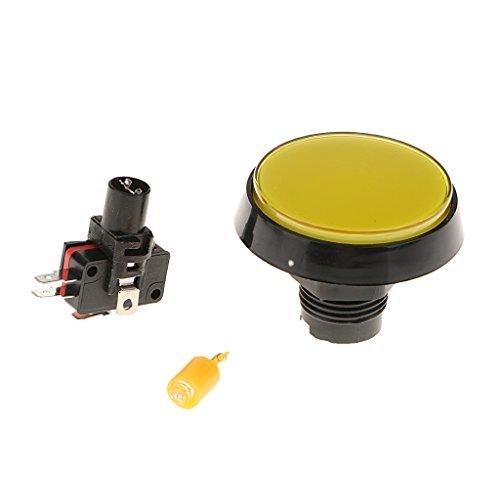 Sharplace 60mm Pousse Bouton de Rechange pour Machine de Jeu ou d'Arcade avec Lumière LED Switch DC 12V - Installation Facile - Jaune