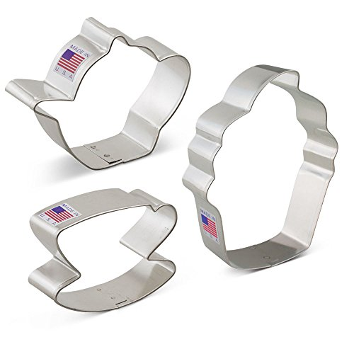 Tea Party Cookie Cutter Set - 3 Piece - Teapot, Teacup, Cupcake - Ann Clark - US Tin Plated Steel (Cutter Teacup Cookie)