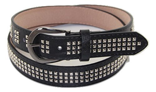 Trimming Shop Women's Punk Rock Goth Biker 3 Row Pyramid Rivets Studded Belt Size Meduim -33