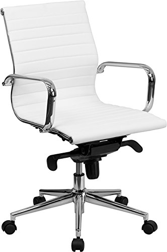 Flash Furniture Mid-Back White Ribbed Leather Swivel Conference Chair with Knee-Tilt Control and Arms (Tilt Tension Control)