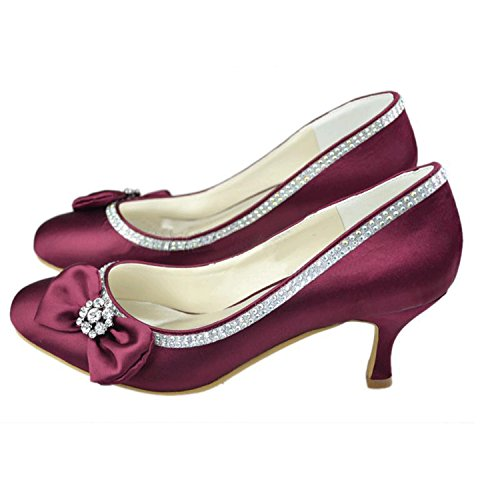 Minishion Girsl Womens Bowknot Satin Bridal Wedding Pumps Dress Evening Shoes Burgundy-7.5cm Heel tL9NfPnlC