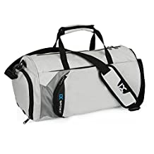 """IX 18"""" Small Sports Gym Bag with Shoe Compartment Overnight Travel Duffel Carry On Luggage Waterproof Dry Wet Separation for Men and Women Grey"""
