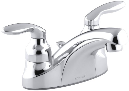 KOHLER K-15241-4-CP Coralais Centerset Lavatory Faucet, Polished Chrome (Centerset Control Coralais Single)