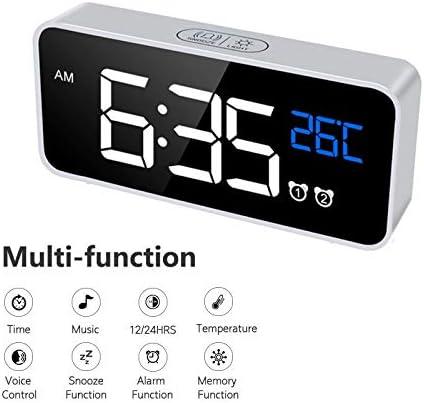 HDSIXU LED Display Digital Alarm Clock, Easy Digital Clock for Kid Senior, Snooze, 12 24H, 2 Alarms Clock with USB Port Charger,Adjustable Volume, Bedside Alarm Clock for Bedroom Kitchen Office