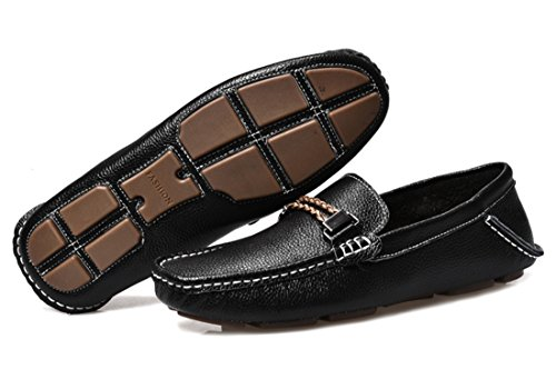 Shoes TDA Leather Comfort Flats Boat Penny Casual Men's Loafers Moccasin Black Driving RURfgvWwn
