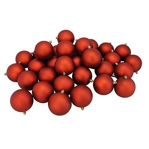 Northlight 31754376 32 Count Shatterproof Matte Burnt Orange Christmas Ball Ornaments, - Finish Matte Orange