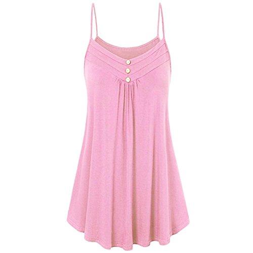 UOFOCO Women Blouse Summer Tank Loose Tops Button V Neck Cami Vest -