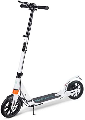 Macwheel Foldable Aluminum Height Adjustable Kick Scooter, Disc Brake Rear Fender Brake Dual Suspension 8 PU Wheels Portable Kick Scooter Best for Teens and Adults MK3