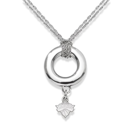 NBA LogoArt New York Knicks Sterling Silver Halo Necklace by Football Fanatics