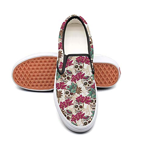 PDAQS Men Day of The Dead Skull and Flowers Casual Loafers Slip on Sneakers Low top]()