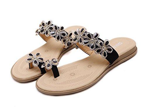 Sandalias zapatos de las flores de diamante zapatos planos de gran tamaño A