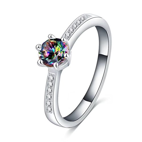 Women's Gorgeous Sparkle Cubic Zirconia Promise Ring for Her 1.5ct Created Fire Topaz Bridal Solitaire Band Rings Size 9