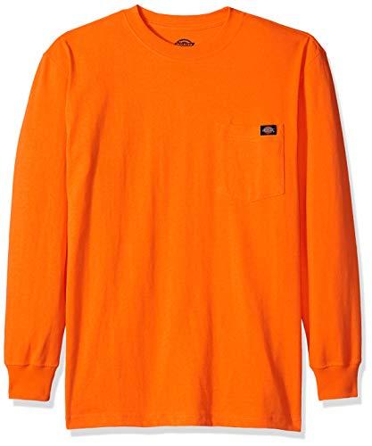 Dickies Men's Long Sleeve Heavyweight Neon Crew Neck Tee, Bright Orange, - Long Sleeve Dickies Tee Fashion