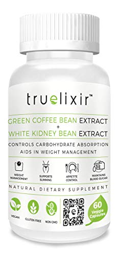 TRUELIXIR Vegan Green Coffee Bean Extract 60% & White Kidney Bean Extract 90%, All Natural, 60 Veggie CAPS (HPMC), Non-GMO, ALLERGEN Free, Gluten Free, NO Carriers, NO FILLERS, THERMOGENIC