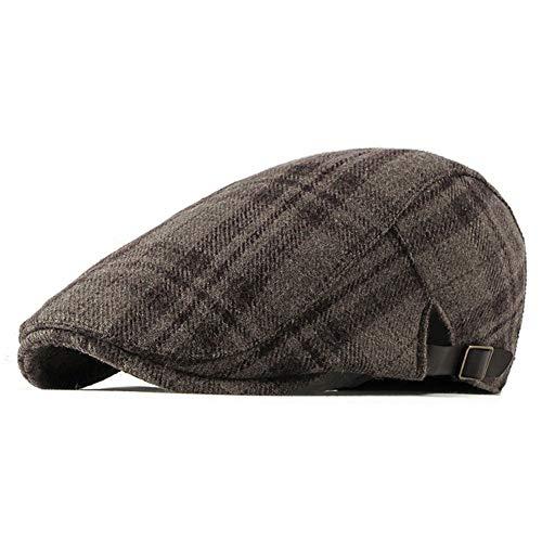 ZLSLZ Mens Woolen Tweed Adjustable Plaid Ivy Newsboy Cabbie Gatsby Golf Beret Flat Hat Cap 304Khaki