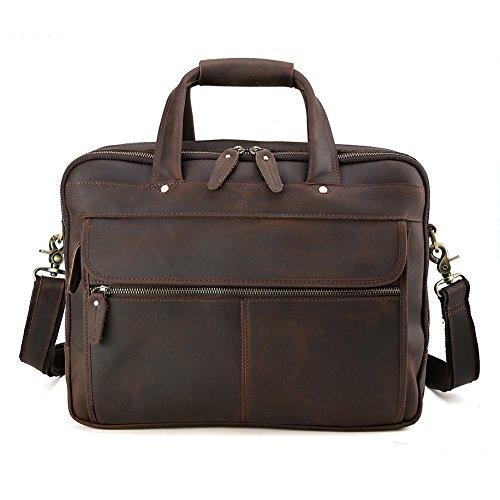 Tiding Men's Real Leather Messenger Shoulder Bag School Book Bag (Brown 15'')