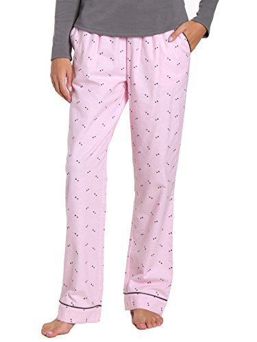 Flannel Pant Grey (Noble Mount Women's Premium Flannel Lounge Pant - Twinkle Pink-Grey - Medium)