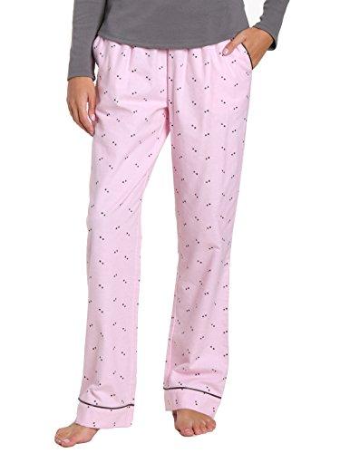 Flannel Grey Pant (Noble Mount Women's Premium Flannel Lounge Pant - Twinkle Pink-Grey - Medium)
