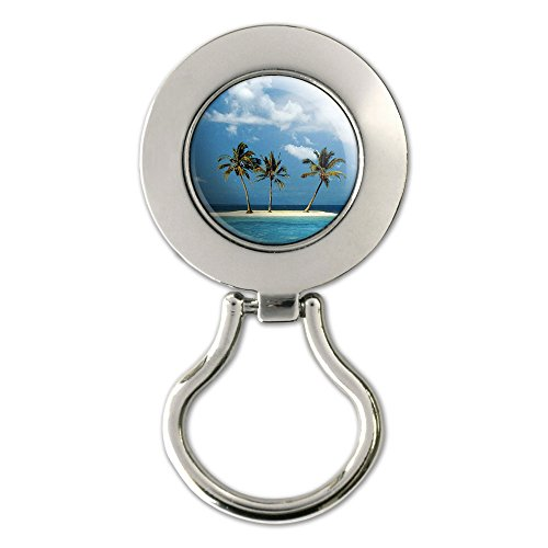 Tropical Deserted Island - Beach Ocean Magnetic Metal Eyeglass Badge Holder