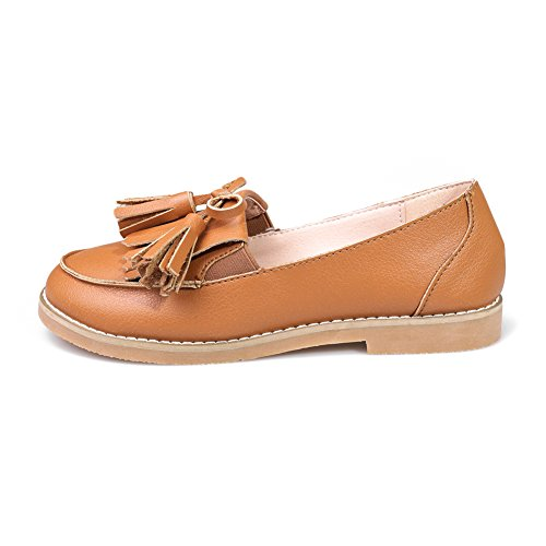 fereshte Women Ladies Casual Work School Dolly Flat Loafers Tassel Fringe Pumps Flats Shoes Brown fyOloH
