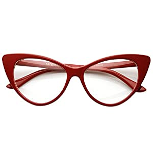 AStyles - Super Cateyes Vintage Inspired Fashion Mod Chic High Pointed Cat Eye Sunglasses Glasses (RedClearLens)